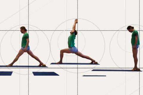 Sie sehen den Yoga Lehrer Florian Pfeifer illustriert in mehreren Asanas.