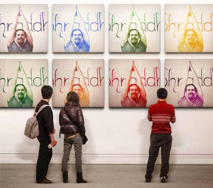 """""""Eight Times Yoga"""" mit Florian Pfeifer in einer Collage im Stil von Warhol."""