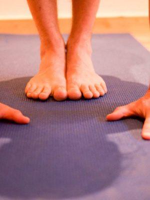 Hände und Füße in Ardha Uttanasana Halbe Vorbeuge